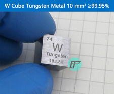 Metal Tungsten W Cube 10 mm Periodic Table Format High Purity ≥99.95%
