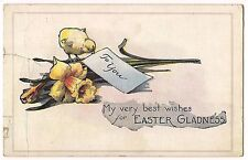 To You EASTER GLADNESS Daffodil and Yellow Chick PEEP  Vintage Postcard 1922