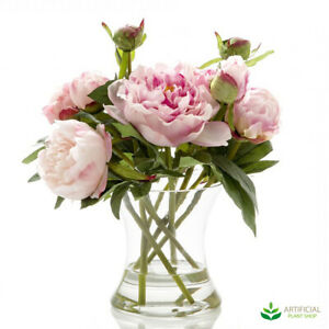 Artificial Fake Plants Dark Pink Peony in Glass Vase with water 30cm