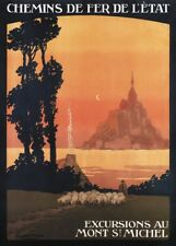 MONT St MICHEL, FRANCE French Travel Poster 250gsm A3 Print