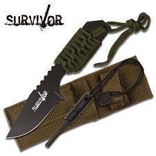 Full Tang Survival Fire Starter Hunting Camping Knife Knives w/ Flint # 106321G