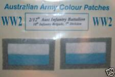 2ND AIF 2/4 BN 2/8 BN WW2 AUSSIE ARMY COLOUR PATCHES INFANTRY - FREE POSTAGE