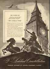1946 vintage ad, Lockheed Constellation, 'Leader to London' Big Ben -021613