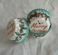 100 xmas hollyberry ring  Cupcake liners baking paper cup muffin case 50x33mm