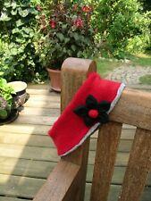 Stirnband, Vintage, Rot, Stoffblüte, Angora mit Wolle