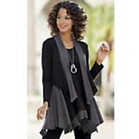 Women's Clothing Tie Shrug by Monroe and Main   Black Gray Accent
