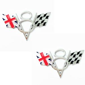2x 3D Silver UK Flag Racing Emblem Alloy V8 Badge Fit for Chevrolet Cadillac GMC