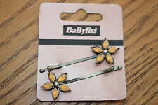 CAR BOOT JOB LOT 10 x Babyliss Vintage Style Peach Flower Design Hair Clip Grips