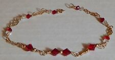 RUBY RED & CLEAR GLASS FACETED BEAD VINT BRACELET/ANKLET 1/20 14K GF