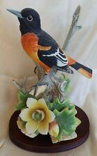 "ANDREA BY SADEK PORCELAIN BIRD Flower FIGURINE Baltimore Oriole 9x6"" Japan"