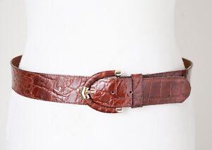 Leather Vintage Belt - Brown - Croc Embossed - Small