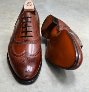 TOP QUALITY NEW-Handmade Men Brogue wingtip shoes Mens dress Brown Lace up shoes