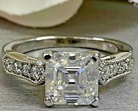 2.72Ct Asscher cut Solitaire Band Diamond Engagement Ring Solid 14K White Gold