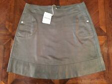 Brunello Cucinelli Women's Luxurious Grey Shimmer Leather Skirt Size M $2860