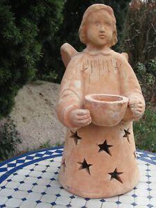 Weihnachtsengel Engel süßer Terracotta Garten Figur Deko klein Winter
