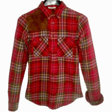 Ralph Lauren Flannel Rugby Shirt Womens Sz 0 Red Plaid Skinny Fit Suede Patch