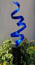 Blue Outdoor Freestanding Garden Art Metal Sculpture - Rise Above by Jon Allen
