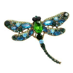 Large Elegant Deluxe Handcrafted Blue Green Dragonfly Rhinestone Brooch Pin