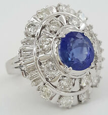 5.33 ct Vintage Platinum Oval Cut Sapphire & Diamond Double Halo Ring No Heat
