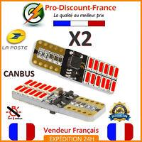 2 x ampoule LED T10 W5W 4014 Rouge Veilleuse CANBUS ANTI ERREUR VOITURE