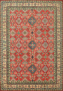 Geometric Kazak 10'x14' Red Wool Hand-Knotted Wool Pile