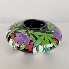 DHM 2001 black white stripe purple floral green leaves 9in round 4in Vase