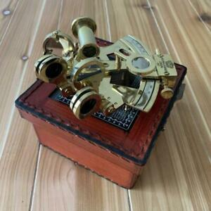 Collectible Nautical Maritime Brass Astrolabe Sextant With Leather Case