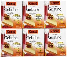 Knox Gelatin 6 x 1.0 oz Boxes 24 Packets Total USA (Jello)
