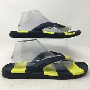 Crocs Beach Line Flip Flops Sandals Mens 11 Black Yellow Striped Casual 15335
