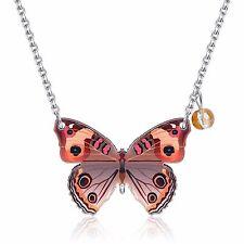 Beautiful elegante Legno Marrone Disegno A Farfalla Ciondolo Donna Collana N530