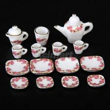 1/12 Dollhouse 15pcs Dining Ware Floral Porcelain Tea Service Dish Cup Plate Set