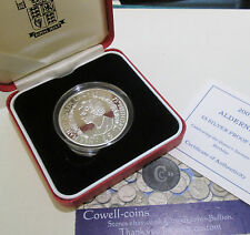 2001 ALDENEY £5 FIVE Pounds Silver Proof Crown Coin QUEENS 75TH BIRTHDAY BOX/COA