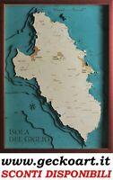 Isola del Giglio Mappa Cartina 3D Quadro Moderno Map Chart | www.geckoart.it