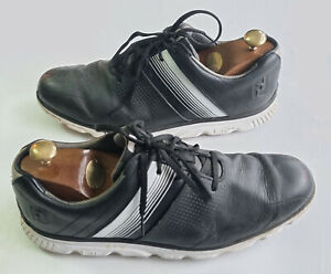 Men's FOOTJOY Premium DRYJOYS CASUAL Black Leather Golf Shoes EU 44.5 UK Size 10