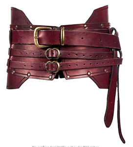Medieval Metal Leather Head Carved Belt Costume WaistBand Buckle Straps COS Prop