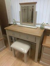 Painted Oak Top 2 Drawer Dressing Table, Stool & Mirror Set 91cm 41cm 77cm