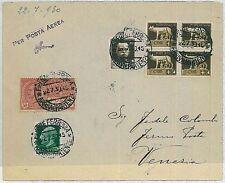 ITALIA storia postale - PRIMI VOLI  catalogo LONGHI 2196: FIRENZE - VENEZIA 1930