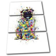 Pug Dog Colourful Abstract Animals TREBLE TOILE murale ART Photo Print