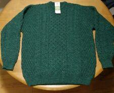 Carraig Donn Men's XXL Irish New Wool Sweater Traditional Aran Knit Green