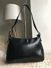 Black genuine leather medium handbag over the shoulder bag Italy