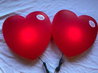 """Blow Mold Valentines Day Huge Red Heart  19"""" Inch Union Products LIGHTED PAIR"""