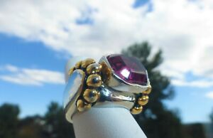 GORGEOUS Silver Gold Tone PURPLE AMETHYST CZ RING Size 6  Great design and on