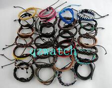 100 PCS Mixed Style Surfer Cuff Ethnic Tribal Leather Bracelets Wholesale