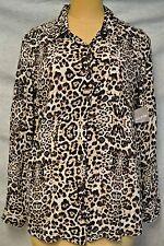 NWT White Stag Leopard Print 100% Rayon LS Button Down Shirt/Blouse-L-12/14