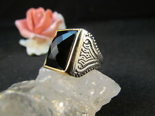 Silberring Männerring Siegelring Ring Sterlingsilber 925 Handarbeit Onyx Gr 63