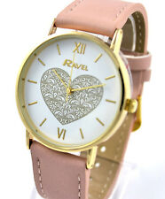 Ravel Ladies or Girls BIG Dial Heart Design Watch Pink White Gold Tone NEW