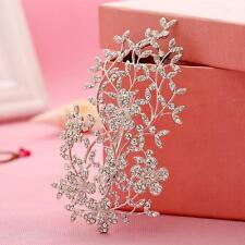 Shinning Flora Vine Rhinestone Beaded Bridal Headpieces Sliver Crystal Hair Clip