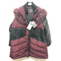 Noize NWT Womens 3X Mulberry Maroon Red Vegan Leather Faux Fur Hood Parka Coat