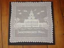 "Antique Hand Crocheted Center Table Cover ""Independence Hall"" 17.5"" by 17.5"""