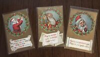 Lot of 3~SANTA CLAUS  in Holly WREATHS~Antique Christmas Postcards-a196